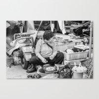 korean Canvas Prints featuring Korean Fishmonger by Jennifer Stinson
