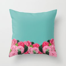 Floral & Turquoise Throw Pillow