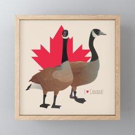I Love Canada! (Two Canada Geese) Framed Mini Art Print