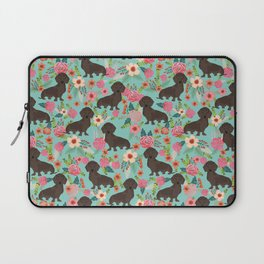 Doxie Florals - vintage doxie and florals gift gifts for dog lovers, dachshund decor, chocolate doxi Laptop Sleeve