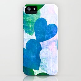 Fab Green & Blue Grungy Hearts Design iPhone Case