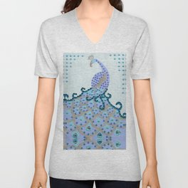 Peacock in Turquoise Unisex V-Neck