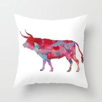 bull Throw Pillows featuring Bull by WatercolorGirlArt