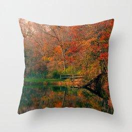 Fall At Oak Creek Pond Throw Pillow