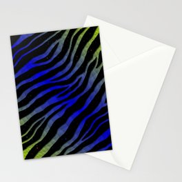 Ripped SpaceTime Stripes - Lime/Blue Stationery Cards