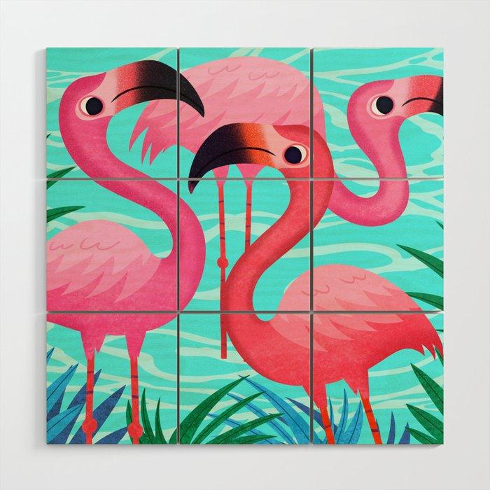 Flamingos Wood Wall Art