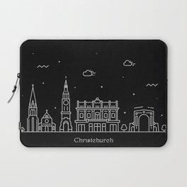 Christchurch Minimal Nightscape / Skyline Drawing Laptop Sleeve