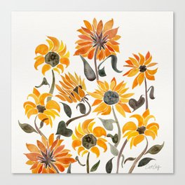 Sunflower Watercolor – Yellow & Black Palette Canvas Print
