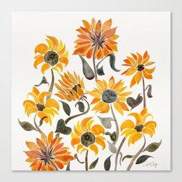 Sunflower Watercolor – Yellow & Black Palette Leinwanddruck