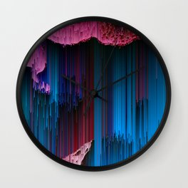 Cotton Candy - Abstract Glitchy Pixel ARt Wall Clock