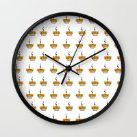 pie Wall Clocks featuring Pie by nicolaporter