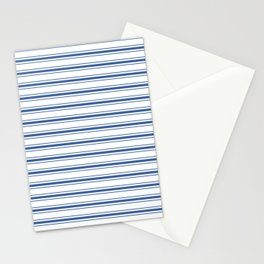 Mattress Ticking Wide Horizontal Stripe in Dark Blue and White Stationery Cards