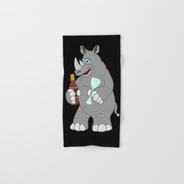 Wine Plus A Rhino Equals A Whino! Hand & Bath Towel