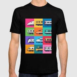 World Trains Grid Pattern T-shirt