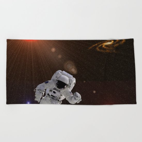 Astronaut Sun Stars Beach Towel