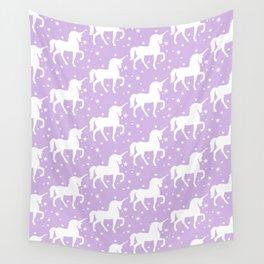Purple Unicorn and Stars Pattern Wall Tapestry