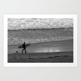 Surfer in Black and White Sunset Art Print