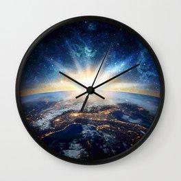 Earth and galaxy Wall Clock