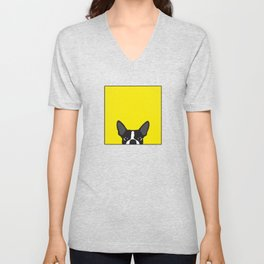 Boston Terrier Yellow Unisex V-Neck