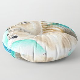 Two Lions Watercolor Art Floor Pillow
