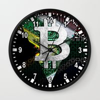 south africa Wall Clocks featuring bitcoin South Africa by seb mcnulty