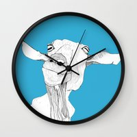 goat Wall Clocks featuring Goat by caseysplace