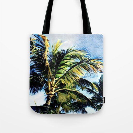 Palm Trees in the Wind (Hawaii Sky) Tote Bag