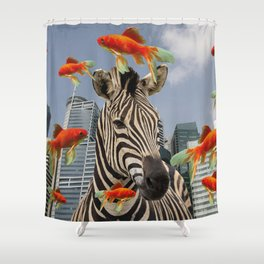 Singapur Skyline with Zebra and Goldfish Illustration Shower Curtain