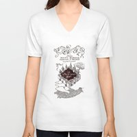marauders V-neck T-shirts featuring MARAUDERS MAP by Graphic Craft
