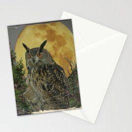 SHABBY CHIC ANTIQUE NIGHT OWL  FULL MOON Stationery Cards