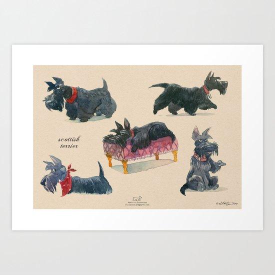Scottish Terriers Art Print