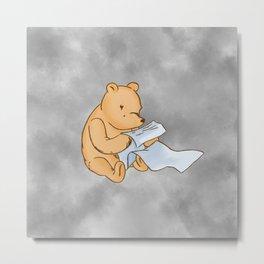 Pooh Reading Grey Metal Print