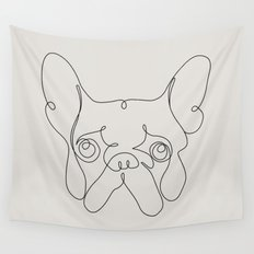 One Line French bulldog Wall Tapestry
