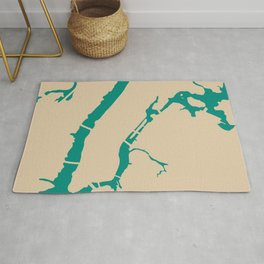 Manhattan NYC New York Minimalist Abstract in Mid Mod Beige and Teal Rug