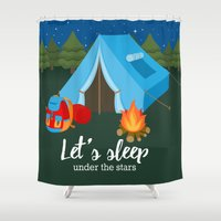 backpack Shower Curtains featuring Camping blue tent by Juliana RW