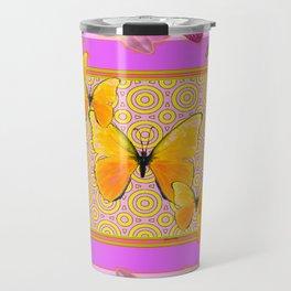 Golden Butterflies Purple-Pink Orchids Art Travel Mug
