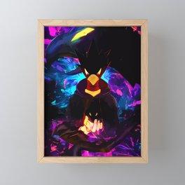 Neon Raven Framed Mini Art Print