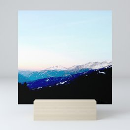 Mountain views abstracted to color blocks Mini Art Print