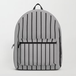Dark Grey on Silver Pinstripes | Vertical Narrow Pinstripes | Backpack