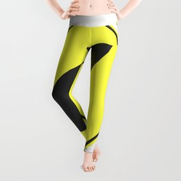 """""""Curve"""" - 3d illustration of yellow roadsign isolated on white background Leggings"""