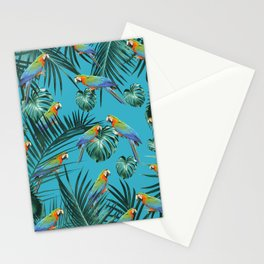 Parrots in the Tropical Jungle #2 #tropical #decor #art #society6 Stationery Cards