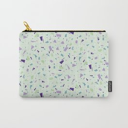 Chocolate Mint Green Terrazzo - Soft Granite Marble Speckle Pattern - Stylish Texture Carry-All Pouch