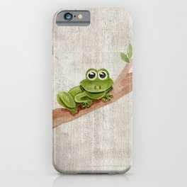 Little Frog, Forest Animals, Woodland Critters, Tree Frog Illustration iPhone Case