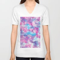 water colour V-neck T-shirts featuring Water Colour Pattern by Andrea Raths
