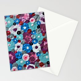 Mixed Flowers - Abstract Mixed Media Painting Stationery Cards