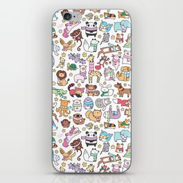 Winter Animals with Scarves Doodle iPhone Skin