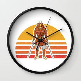 Retro Vintage Samurai Warrior Katana Sword Bushido  Wall Clock