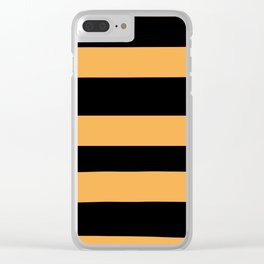 VA Bright Marigold - Spring Squash - Pure Joy - Just Ducky Hand Drawn Fat Horizontal Lines on Black Clear iPhone Case