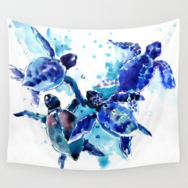 Sea Turtles, Marine Blue underwater Scene artwork Wall Tapestry