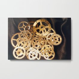 Gears & Leather Metal Print